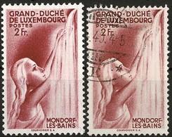1939: Mondorf-les-Bains, 2 Timbres 2Fr. Carmin Foncé: Michel: 332 (2scns) - Luxembourg
