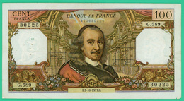 100 Francs - France -  Corneille - N° G.589 30225 / E.7-10-1971.E.  - TTB+ - - 1962-1997 ''Francs''