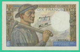 10 Francs - France -  Mineur - N° H.107 38873 / A.26=9=1946.A.   - SPL- - 10 F 1941-1949 ''Mineur''