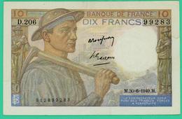10 Francs - France -  Mineur - N° D.206 99283 / M.30=6=1949.M. - Rare . - SPL - - 1871-1952 Anciens Francs Circulés Au XXème