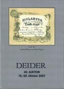 40. Deider Auktion 2007 - Auktionskataloge
