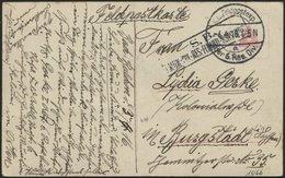 LETTLAND 1066 BRIEF, K.D. FELDPOSTEXP. DER 6. RES. DIV. A, 4.4.16, Auf Ansichtskarte (Aus Dem Schönen Kurland) Nach Burg - Letland