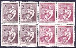 ** Tchécoslovaquie 1952 Mi 722-3 (Yv 622-3), Blocs De 4, (MNH) - Tschechoslowakei/CSSR
