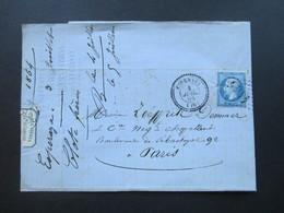 Frankreich 1864 Kaiser Napoleon III. Stempel Esperaza Nach Paris. Firmen Vignette Clote Freres Fa De Chapeaux Esperaza - 1862 Napoleon III