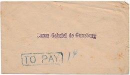 Lettre Chine Shanghai Local Post Griffe To Pay Pour Le Baron De Gunzburg China - Cina