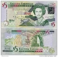 EAST CARIBBEAN STATES       5 Dollars       P-47a        ND (2008)      UNC - Caraibi Orientale