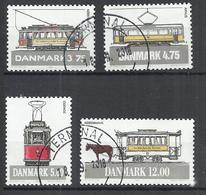 DENMARK 1994 - OLD TRAMS - CPL. SET - OBLITERE USED GESTEMPELT USADO - Trains
