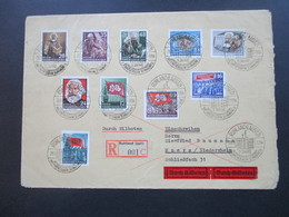 DDR 1954 Nr. 344-353 Satzbrief Todestag Marx. Eilboten Beleg / Einschreiben Ruhland (Lausitz) 001 C SST Ruhland - DDR