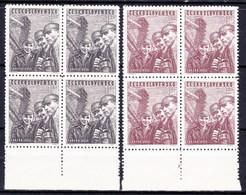 ** Tchécoslovaquie 1951 Mi 653-4 (Yv 566-7), Blocs De 4, (MNH) - Tschechoslowakei/CSSR