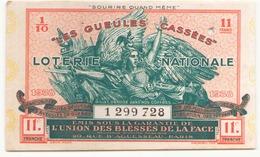 Billet De Loterie Nationale Les Gueules Cassées 1938 - Billets De Loterie
