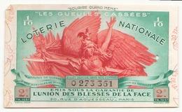 Billet De Loterie Nationale Les Gueules Cassées 1937 2 ème Tranche - Billets De Loterie