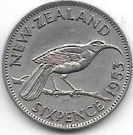 *new Zealand 6 Pence 1953 Km 26.1  Xf - Nouvelle-Zélande