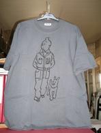 T-shirt Tintin De Couleur Gris Anthracite, Taille XL. ( CW ) - Habits & Linge D'époque