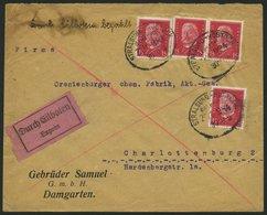 BAHNPOST DR 414 BRIEF, Stralsund-Rostock (Zug 284) Auf Eilbotenbrief Mit 4x 15 Pf. Hindenburg Von 1931, Feinst - Allemagne