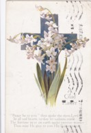 AM66 Greetings - A Glad Easter, Floral Cross - Tuck Oilette - Easter