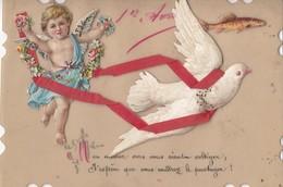 CPA (anges)  1er Avril(b.bur Theme) Collage Celluloid (parfait Etat) - Angels