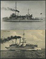 ALTE POSTKARTEN - SCHIFFE KAISERL. MARINE BIS 1918 S.M.S. Hagen, 2 Karten, Eine Gebraucht - Krieg