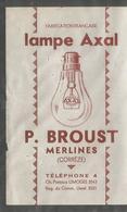 19 - Correze - Merlines - Traite De 1950 - Lampe Axal - P Proust Telephone 4 Ch Postaux Limoges - - Unclassified