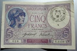 BILLET DE LA BANQUE DE FRANCE CINQ FRANCS LE 12 MARS 1918 - 1871-1952 Anciens Francs Circulés Au XXème