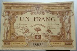 BILLET CHAMBRE DE COMMERCE D'ANGERS, Valeur Un Franc Juillet 1915 - Chambre De Commerce