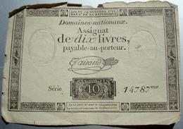 ASSIGNAT DE DIX LIVRES PAYABLE AU PORTEUR AVEC FILIGRANES - Assignats