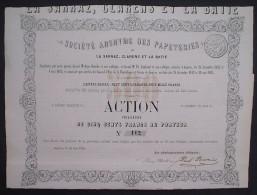 Papeteries La Sarraz, Clarens Et La Batie Actions De 500 Francs Geneve 1865 - Industrie