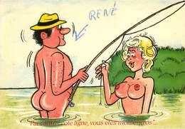 Illustrateurs - Illustrateur Alexandre - Femmes - Femme Seins Nus - Nude - Pêche - Semi Moderne Grand Format - état - Alexandre