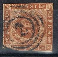 Sello DANMARK (Dinamarca), Rings Numeral 2, Yvert Num 8 º - 1851-63 (Frederik VII)