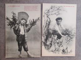 Le Marchand De Buis .la Cueillette Du Buis . 2 Cartes . Dos 1900 - Andere
