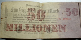 Billet Allemand De 50 Millionen Mark De 1923 - [ 3] 1918-1933 : Repubblica  Di Weimar