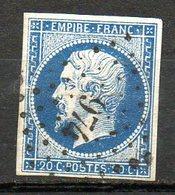 FRANCE - 1853-60 - Second Empire - Napoléon III - N° 14Aa - 20 C. Bleu Foncé (Oblitération : Losange PC) - 1853-1860 Napoleon III