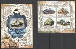 F303 2013 MOZAMBIQUE WORLD WAR II TANKS DURING WWII TANQUES KB+BL MNH - 2. Weltkrieg