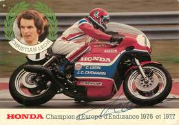 Sports - Moto - Motos - Honda - Christian Leon - Championnat D'Europe D'endurance 1976 Et 1977 - Autographe - état - Moto Sport