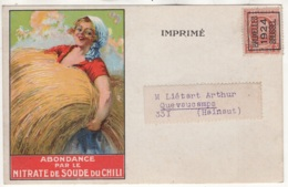 Abondance Par Le Nitrate De Soude Du Chili. Superbe Carte Avec TP Préoblitéré 1924 - Agricoltura
