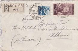 BUSTA VIAGGIATA RACCOMANDATA - VIAGGIATA DA FIORANO AL SERIO ( BG ) HA ALBERONI ( VENEZIA ) - 6. 1946-.. Repubblica