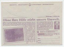 Postal Cheque Cover Germany Elephant - Panda Bear - Tiger - Monkey - W.W.F.
