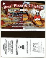Schlüssel- / Hotelkarte Der Hotelkette Howard Johnson - Boss' Pizza & Chicken - Hotelkarten