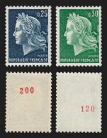 France N°1535a + 1536Aa, Marianne Cheffer ** Numéro Rouge Au Verso COTE 79 € - Frankreich