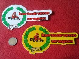 PEGATINA ADHESIVO STICKER LOTE DE 2 PEGATINAS STICKERS KARTODROMO ARAGÓN SPAIN ESPAGNE KARTING COCHES CARS AUTOMÓVILES - Stickers