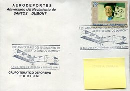 38297 Argentina, Special Postmark Buenos Aires 2003  For 130^anniversary Birth Of Santos Dumont - Celebridades