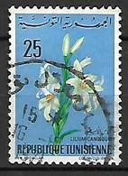 TUNISIE   -   1968 .  Y&T N° 646 Oblitéré.   Fleurs.  Lis - Tunisia