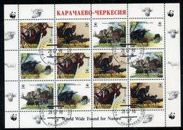 KARACHAYEVO-CHERKESIA (FANTASTIC) 1998. WWF. MONKEY. CIVET. WILD CATS. WILDLIFE - W.W.F.