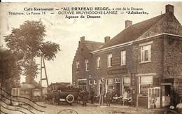 CPA ADINKERKE , Café Restaurant AU DRAPEAU BELGE, Agence De Douane, BRUYNOOGHE-LANIEZ, Pompe Essence , Animée - Otros