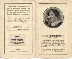 Santino Antico Depliant MARIETJE FILIPPETTO (1912 - 1927) (Testi In Tedesco) - P73 - Religione & Esoterismo