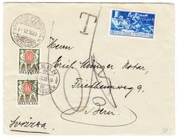 1930 Brief Mit Bahnpost Brescia Ferrovia Nach Bern; Da Italienische Marke Ungültig War: 60 Rp. Schweizer Strafporto - Portomarken