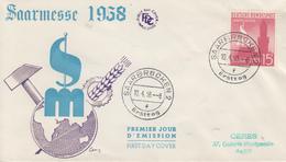 Enveloppe  1er  Jour  SARRE   6éme    Foire  Internationale   SAARBRÜCKEN    1958 - FDC