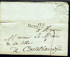 FR -1817- Administration Générale Des Eaux Et Forêts - Marque II5 Montauban Pour Castelsarrazin - Port Dû Taxe 2 Décimes - Storia Postale