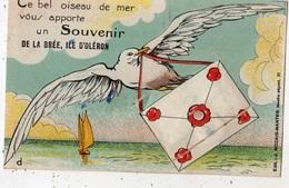 CE BEL OISEAU DE MER VOUS APPORTE UN SOUVENIR DE LA BREE, ILE D'OLERON (CARTE A SYSTEME) - Ile D'Oléron