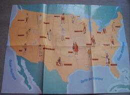 Amérique Du Nord - Carte Géographique Avec Emplacements Des Tribus Indiennes - Cartes Géographiques