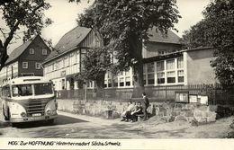 """HINTERHERMSDORF, Sächs.-Schweiz, Hog. """"Zur Hoffnung"""" Bus (1960s) AK - Hinterhermsdorf"""